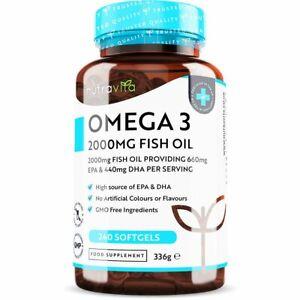 Omega 3 2000mg Fish Oil - 660mg EPA/440mg DHA High Dose - Brain Heart Joint Care