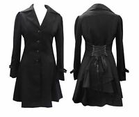 GOTHIC BLACK VICTORIAN CORSET RIDING JACKET COAT IN SIZES 8-28
