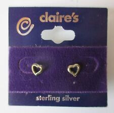d Sterling Silver Open Heart Stud EARRINGS claires jewelry tarnished