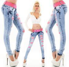 Hüft Jeans Hose Skinny Röhrenjeans Cut OuT Destroyed Risse Neon Pink Gürtel