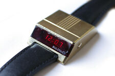 Bulova Computron LED Electronic 70s Driver's Watch Gold Plated Vintage Rare