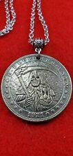 Grim Reaper Morgan Hobo Dollar Copper Medallion Stainless Chain Necklace Jewelry