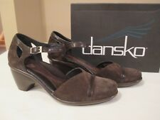 New DANSKO ROXY Brown Suede Leather ANKLE STRAP COMFORT PUMPS 38 US 7.5/8 w/Box
