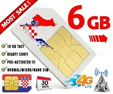 Kroatien SIM INTERNET prepaid karte | 6GB bei Anreise AKTIV! KROATIEN SIM 4G LTE