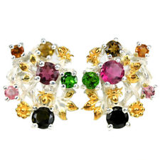 NATURAL MULTI COLOR TOURMALINE ROUND STERLING 925 SILVER FLOWER DROP EARRING