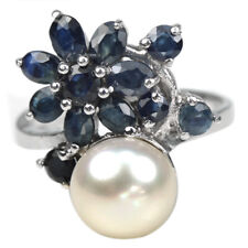 GENUINE BLUE SAPPHIRE & WHITE PEARL STERLING 925 SILVER FLOWER RING SIZE 7