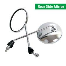 Chrome Round Motorcycle Rearview Mirrors For Honda Suzuki Kawasaki 8mm Long Rod