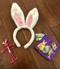 NEW Easter Bunny Ears Headband White Fuzzy HOP purse and bendy bunny LOT easter