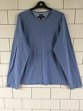 TOMMY HILFIGER VINTAGE RETRO SKY BLUE BOLD LONG SLEEVE T SHIRT SWEATER STYLE XL