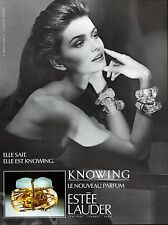 ▬►Parfum Estée LAUDER Knowing Skrebneski Original French Print ad Publicité 1989