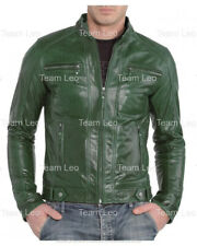MEN'S NEW GREEN LEATHER BIKER MOTORCYCLE JACKET HAVING S,M,L,XL,2XL,3XL,4XL SIZE