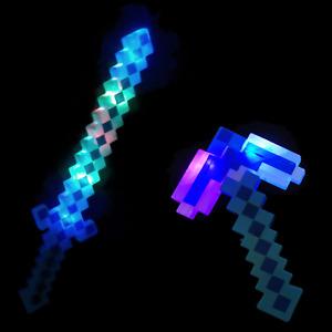 Diamond Pixel Sword Light Up Flashing Toy Kids Mine Gaming Retro Craft Pickaxe