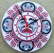 """STUNNING NATIVE AMERICAN ART  7"""" wall clock upcycled No4"""