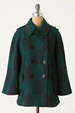 NWT Anthropologie Checker Table Wool Poncho Jacket Size L