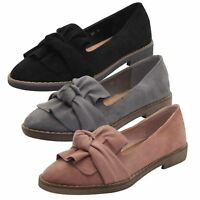 Ladies Faux Suede Low Flat Pumps Women Slip on Bow Ballerina Dolly Ballet Shoes