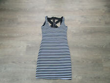 **SIZE SMALL (8/10) BLACK & WHITE STRIPED DRESS, ZIP ALL DOWN THE BACK (P2)**