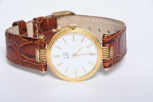 18k SOLID YELLOW GOLD VINTAGE DUNHILL WRISTWATCH .750 ITALIAN LEATHER BAND