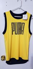 PUMA TRAINING SLEEVELESS TOP ULTRA YELLOW PEACOAT SMALL LOOSE FIT LIGHTWEIGHT
