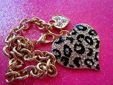 Guess Crystal Leopard Heart Bracelet 7 Inch Gold Tone