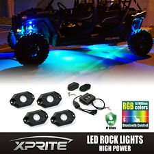 Xprite RGB LED Multi-Color Offroad Rock Lights Wireless Bluetooth Truck Jeep-4PC