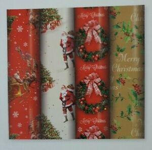 4 Rolls  x 8M  Traditional  Santa Wreath Christmas Gift Wrapping Paper 29595