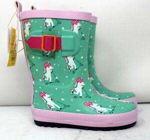 Sun Squad Kids' Gardening Boots Medium (7/8) Green/Pink Unicorns