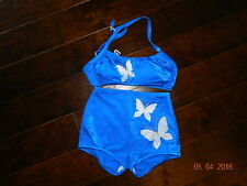 Vtg. 1950's 60's Deweese Design Swim Bathing Suit Pin Up 8 Butterfly blue gold