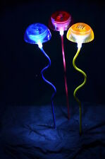 A set of Three Solar Toadstool Lights, lawn landscaping ornament White LED lamp