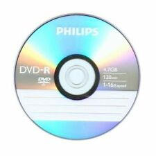 10 PHILIPS Blank DVD-R DVDR Logo Branded 16X 4.7GB Media Disc in Paper Sleeves