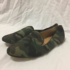 J.Crew Green Camo Loafer Flats Leather Shoes Slip On Sz 10