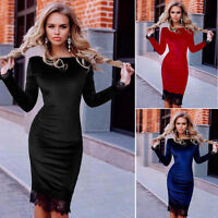 Women Ladies Long Sleeve Lace Bandage Bodycon Evening Party Cocktail Midi Dress