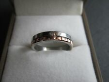 Designer Style Steel 4mm wedding band ring with cz (size O/8) BRAND NEW