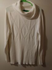 apostrophe sweater womens size xl cream color white long sleeve cowl neck