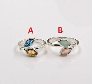Blue Topaz & Citrine Leaf Design Ring For Valentine's Gift 925 Sterling Silver