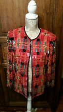 Vtg Beaded Silk Red Evening Jacket Niteline Della Roufogali Sz M New Years Eve