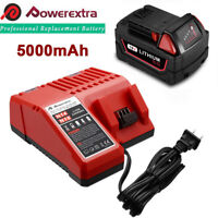 For Milwaukee 48-11-1852 48-11-1850 M18 XC 5.0 AH Lithium Ion Battery & Charger