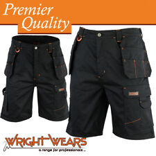 Mens Cargo Redhawk Pro Work Shorts Black Multi Pockets Waist 32
