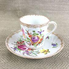 Antico Dresda Porcellana Coppa & Piattino dipinto a mano coi SPRAY floreali