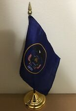 New Utah 4x6 Desk Top Handheld Flag - Includes Base
