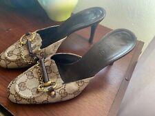 Gucci Gg Brown Beige Canvas Logo Horsebit Mules Shoes 5B