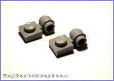 Lego 2 x Platte mit Öse hellgrau (1 x 1) - 4081b - Light Bluish Gray - NEU / NEW