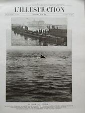 """L' ILLUSTRATION 1910 N 3510  LA PERTE DU SOUS-MARIN """" PLUVIOSE """""""