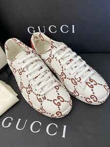GUCCI ACE WHITE LEATHER SNEAKERS GG PRINT SHOES Red US 6 Women's US 8.5