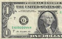 G60000044H LOW SERIAL NUMBER FIVE OF A KIND ONE DOLLAR IN GOOD CONDITION