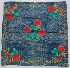 Rare Vintage HARLEY DAVIDSON Roses Flowers Bandana Handkerchief T Shirt 80s 90s
