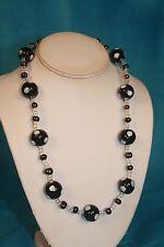 "NEW - KAZURI 22"" DORIA Beaded Necklace Black n White sku #1864"