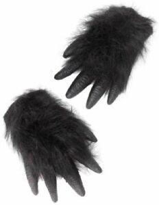 ADULT ONE PAIR BLACK GORILLA CHIMP APE  HANDS REALISTIC WITH FUR FANCY DRESS