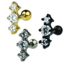 3 Kristalle glitzer Ohr Helix Tragus Piercing Schmuck Silber Gold Schwarz 1,2mm