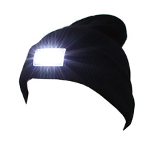 Black 5-LED Light Cap Beanie Hat & Batteries for Hunting Camping Running Fishing