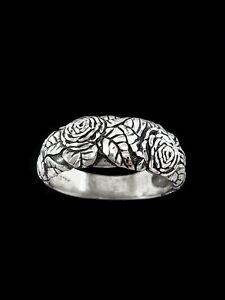 Rose Ring, 925 Sterling Silver, Diamond Cut Ring, Vine Ring, Flower Ring